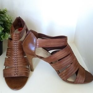 "FRANCO SARTO 9.5 Strappy Heels 4"" Brown"